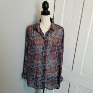 Band Of Gypsies Button Down Sheer Paisley Top L